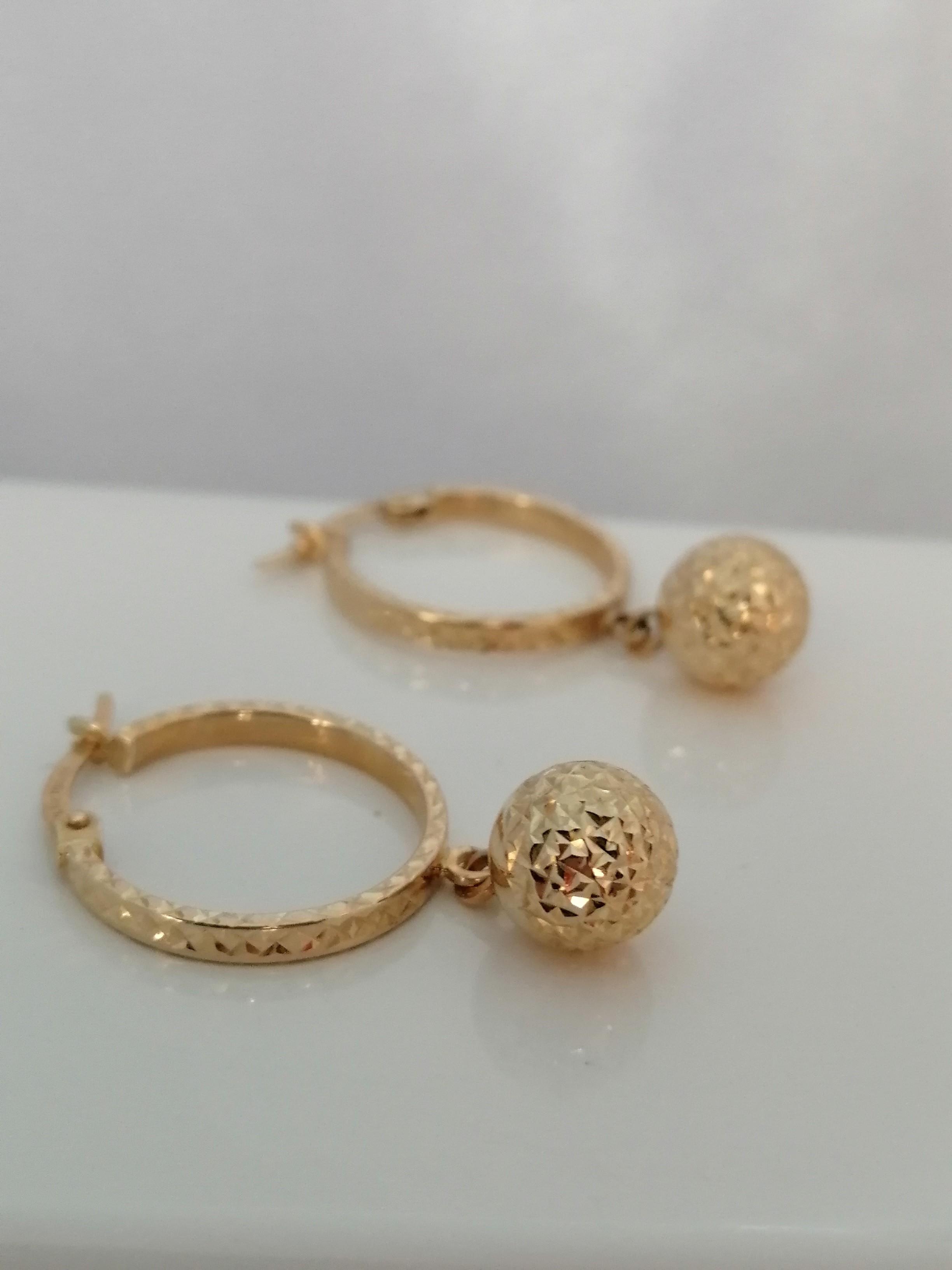 Arete Colgar Bola Diamante Oro Amarillo