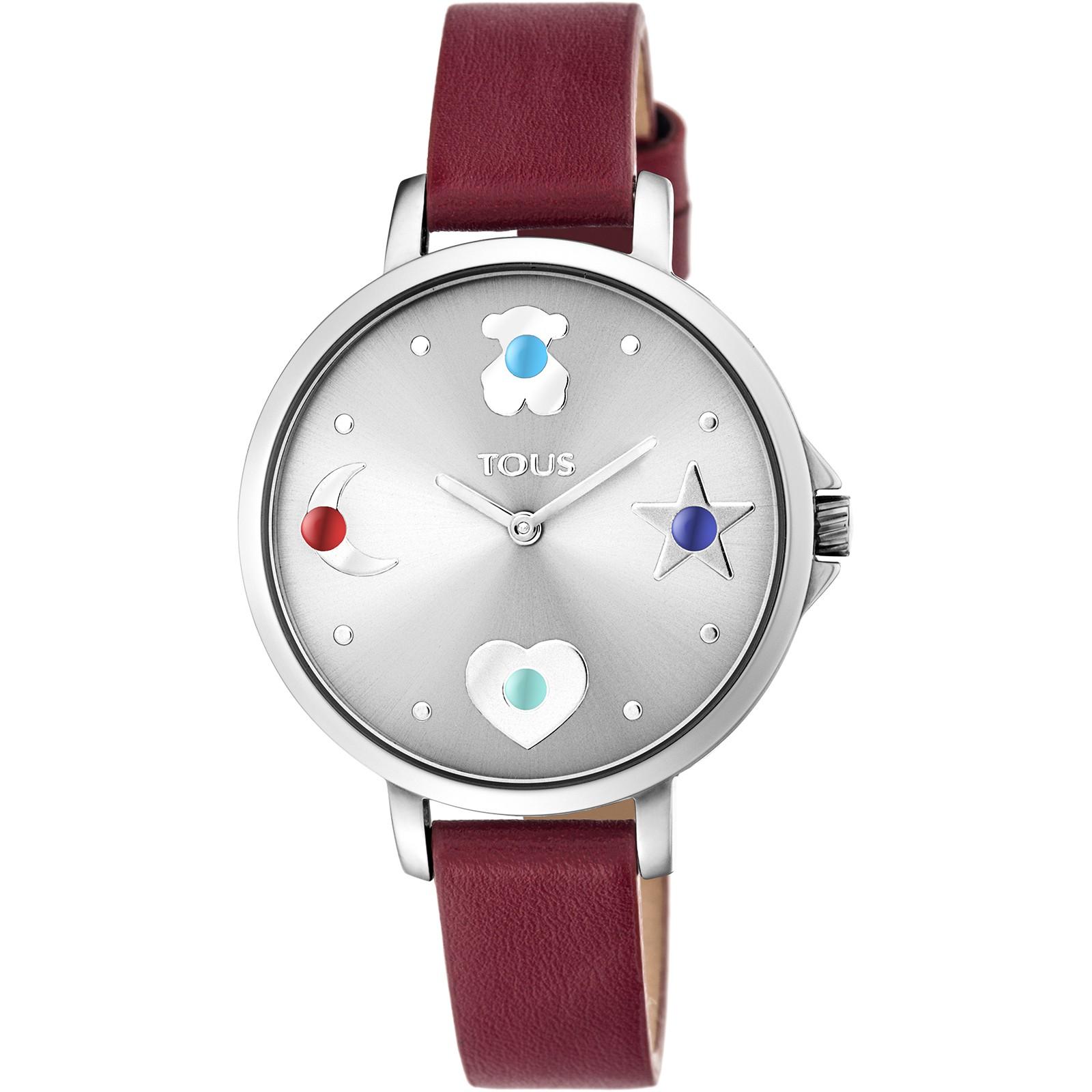 Reloj Super Power Rojo-Plateado de Cuero Tous TTSPS - TDT (B)