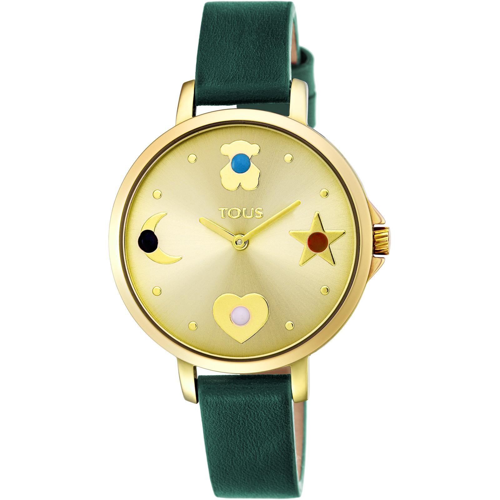 Reloj Super Power Verde-Dorado de Cuero Tous TTSPS - TDT (B)