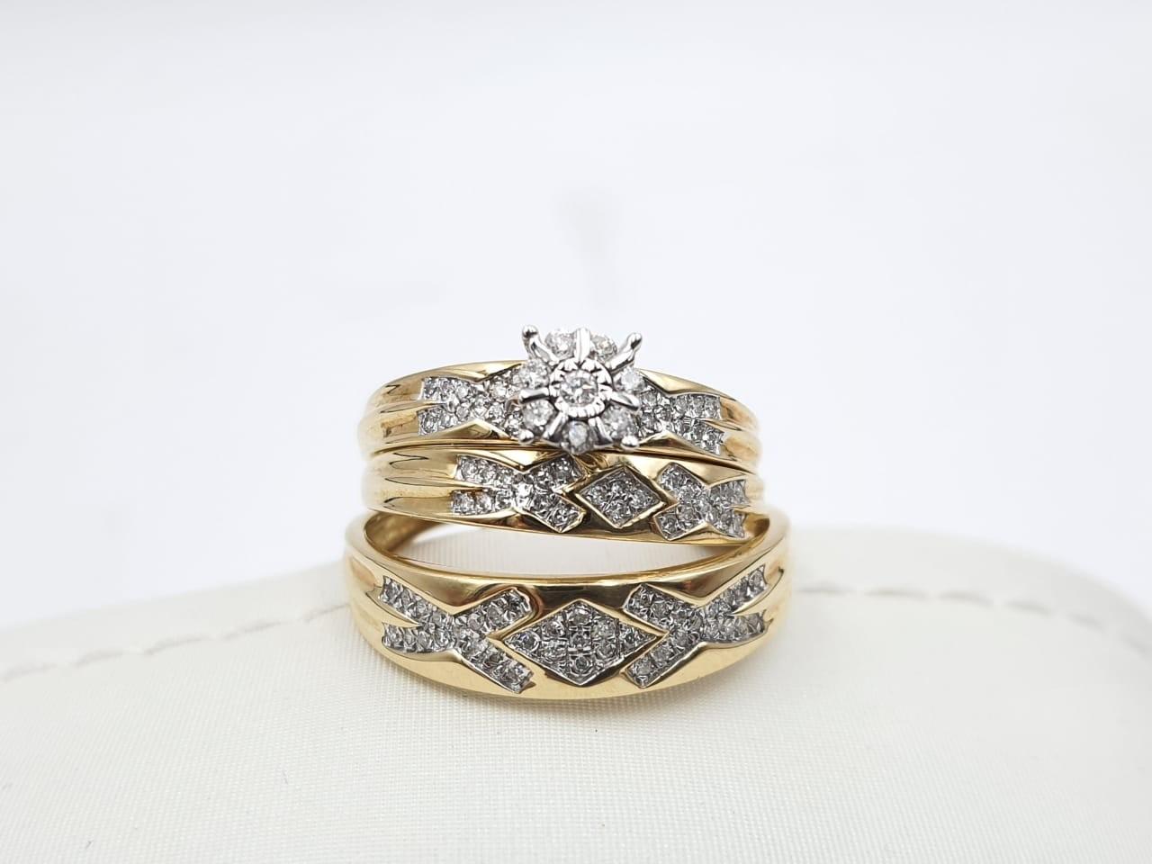 Trio Boda Oro Amarillo Con Diamantes