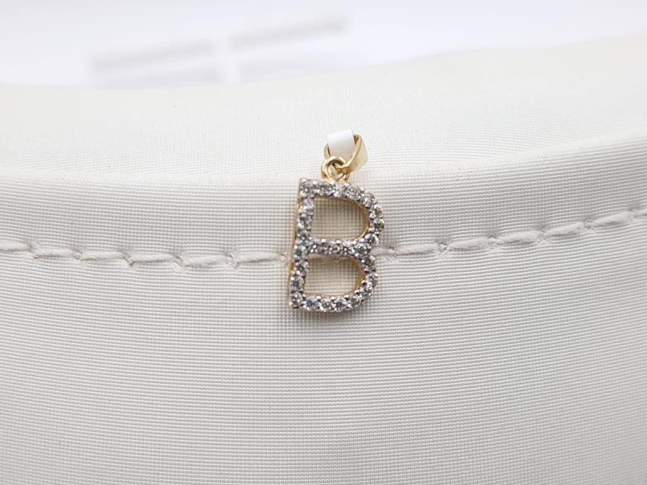 Dije Letra B Con Zircones Oro Amarillo 14k