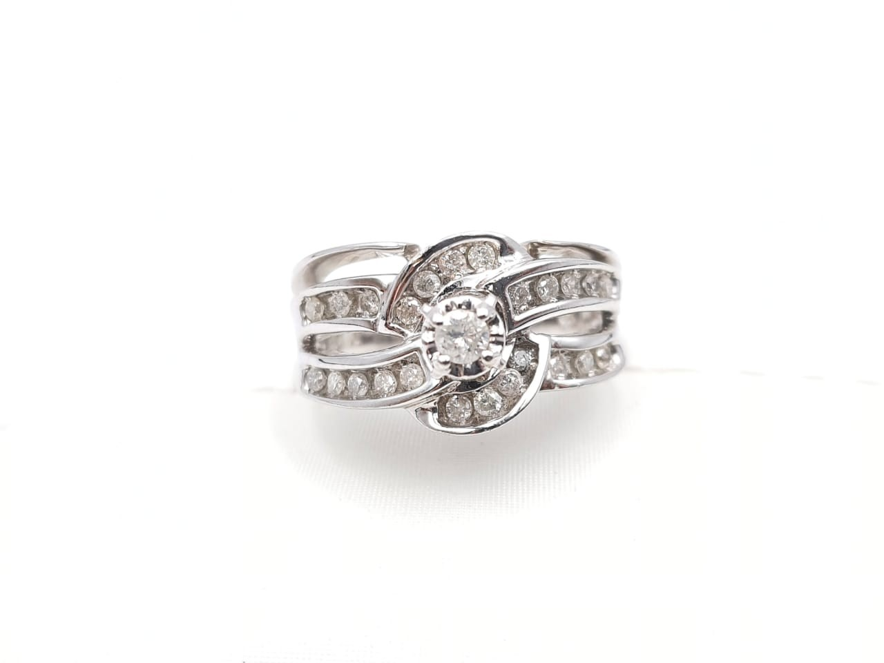 Anillo Boda Duo Con Diamante Oro Blanco