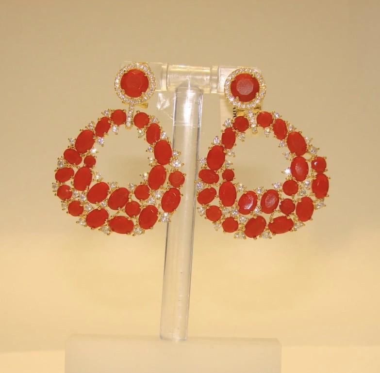 Arete Plata Coral Fashion